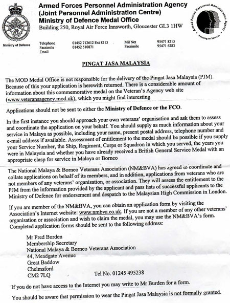 MOD Medal Office Letter on PJM Applications and Wear