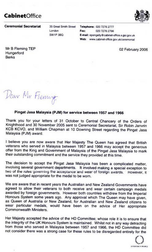 the pjm cabinet office letter